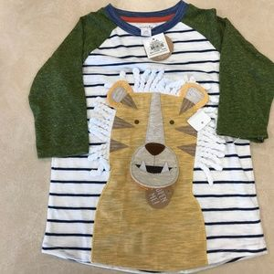 Mud Pie Boys Lion Safari Stripe Long Sleeve Raglan